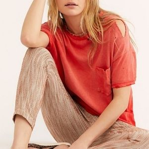 Free People Lucky Tee Shirt Top Cosmic Red
